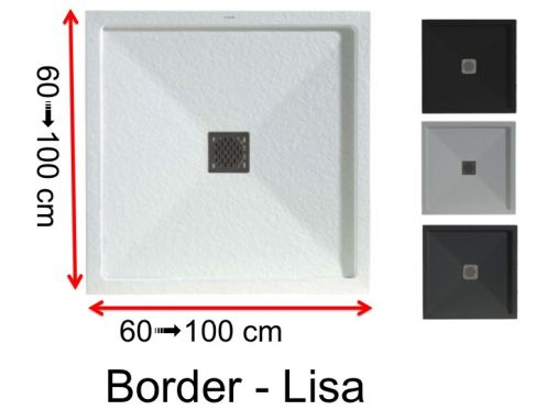 Very small custom size shower tray with overflow edge - 75 x 75 -  BORDER LISA