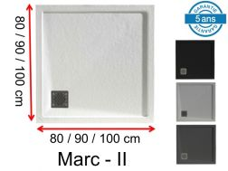 Square shower trays, with edging, drainage in angle, in mineral resin - MARC II