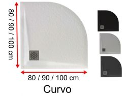 Round shower trays, mineral resin - CURVO 100x100