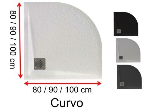 Round shower trays, mineral resin - CURVO 90x90