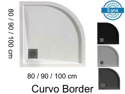 Round shower trays, with edge, in mineral resin - CURVO BORDER 100x100