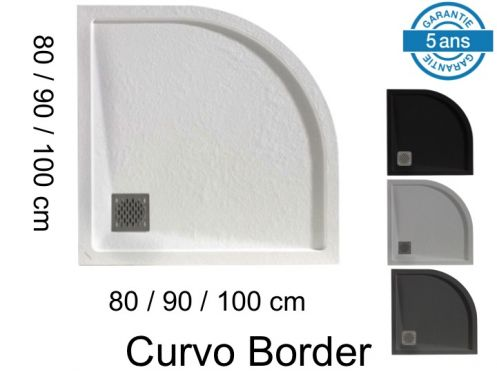 Round shower trays, with edge, in mineral resin - CURVO BORDER 90x90