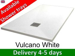 Mineral resin shower trays, custom made, stone effect, non-slip - VULCANO white