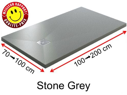 Custom made mineral resin shower trays, stone effect, non-slip - STONE