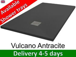 Mineral resin shower trays, custom made, stone effect, non-slip - VULCANO anthracite