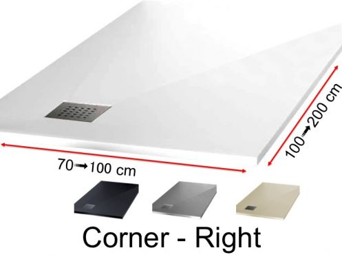 Shower tray with right-angled drain - CORNER Right