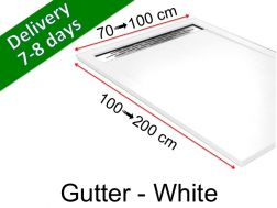 Shower tray with gutter, in light resin - GUTTER White