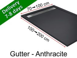 Shower tray with gutter, in light resin - GUTTER anthracite