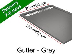 Shower tray with gutter, in light resin - GUTTER grey