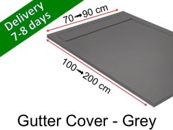 Gutter shower tray with resin grid - GUTTER COVER grey