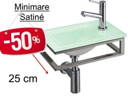 - 50 __percent__ => Glass hand basin in green color, stainless steel stand, width 25 cm - MINIMARE Benesan