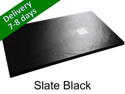 Shower tray - slate look, black - ARDOISE