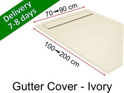 Gutter shower tray with resin grid - GUTTER COVER ivory