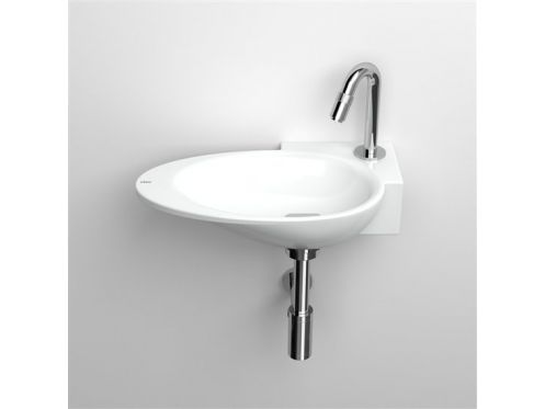 Washbasin, 25 x 36 cm, white ceramic, tap right - FIRST CLOU