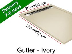 Shower tray with gutter, in light resin - GUTTER ivory