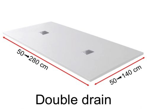 Shower tray, with double drain - DOUBLE DRAIN