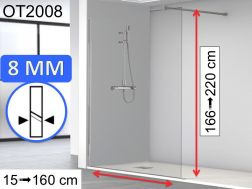 Shower screen 40 x 195 cm, fixed panel, glass 8 mm - OT2008