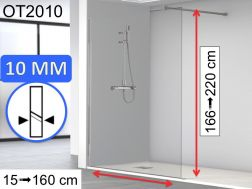 Shower screen 150 x 195 cm, fixed panel, glass 10 mm - OT2010