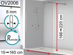 Shower screen 20 x 195 cm, fixed panel, glass 6 mm - OV2006