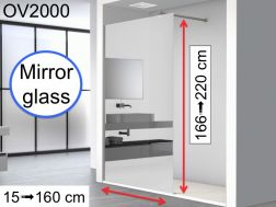 Mirror shower screen 50 x 195 cm, fixed panel with one-way mirror mirror glass - OV2000 Mirror