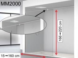 Fixed shower screen 130 x 195 cm, with stabilizer bar from wall to wall - MM2000