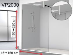 Shower screen fixed 100 x 195 cm, stabilizer bar glass / ceiling - VP2000