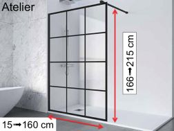 Fixed shower screen, 150 x 195, industrial style Art Deco - ATELIER 1