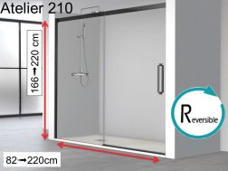 Sliding shower door, 170 x 195 cm, industrial art deco style, with black profile - ATELIER 210