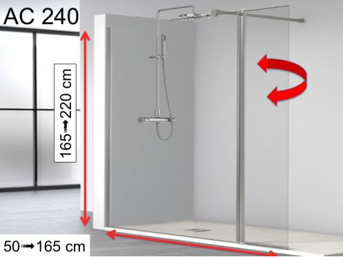 Shower enclosure with flapper, 120 __plus__ 32 x 195, 32 cm swivel shutter - AC240