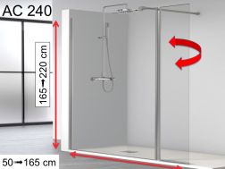 Shower enclosure with flapper, 130 __plus__ 32 x 195, 32 cm swivel shutter - AC240