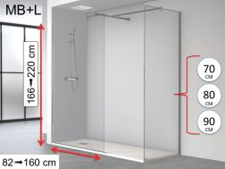 Italian shower screen, 90 x 195, two 8 mm fixed lenses - MBL