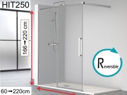 Sliding shower screen, 140x195, with open section - HIT 250