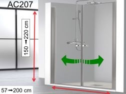 Double-leaf shower door, 140 x 195 cm, interior and exterior opening - AC207