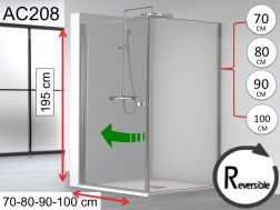 Corner shower screen 100 x 100 x 195, one swing door and one fixed - HADA 208