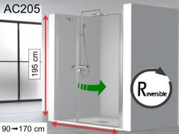 Swing shower door, 90 x 195 with fixed wall in extension - HADA 205