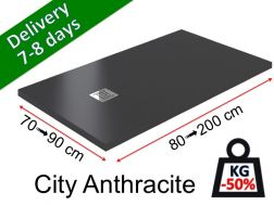 Extra-flat shower tray in light mineral resin - CITY anthracite 100