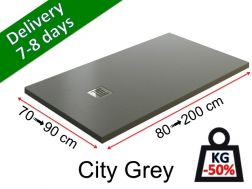 Extra-flat shower tray in light mineral resin - CITY gray