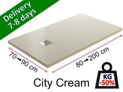 Extra-flat shower tray in light mineral resin - CITY cream
