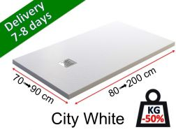 Shower tray, extra flat, light mineral resin - CITY white