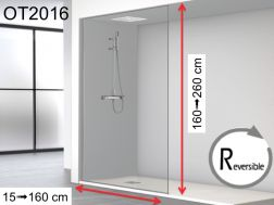 Fixed shower screen, floor / wall / ceiling, 100 x 250 - OT 2016