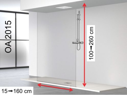 Fixed shower screen, floor-ceiling - 120 x 250 - OL 2015