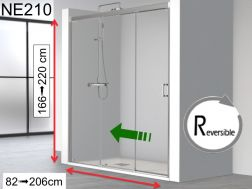 Shower door, two sliding panels on a fixed - NE210