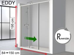 Shower door, two sliding panels on a fixed - 130 x 195 - EDDY