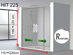 Shower door, two central leaves sliding on a fixed - 120 x 195 - HIT 225