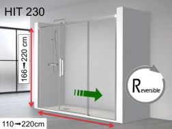 Shower door, a central sliding door with two fixed ends - 140 x 195 - HIT230
