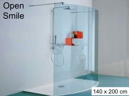 Shower screen, fixed curved - 142 x 200 - Open Smile