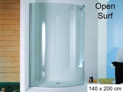Shower screen, fixed curved - 140 x 200 - Open Surf
