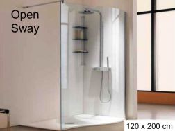 Fixed curved shower screen, wave - 120 x 200 - Open Sway