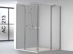 Swing shower doors, opening in angle with two fixed panels - 100 x 100 x 195 - AC213