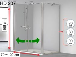 Shower door, double swing, with fixed corner wall - 70 x 70 x 195 - HADA 207